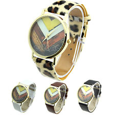Fashion Men Women Wave Dial Geneva Quartz Leather Band Analog Wrist Watches