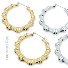 1 PAIR OF BAMBOO TRIBAL STYLE 7cm LARGE HOLLOW LIGHTWEIGHT HOOP CREOLE EARRINGS