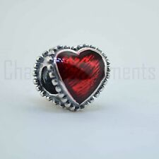 Sterling Silver 925 European Charm Red Hearts Love Bead 88027