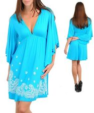 Womens dress summer Bell sleeve Embroidered Babdoll V neck S M L Sexy Boho Chic