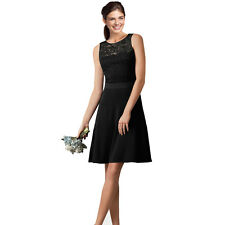 Sleeveless Black Satin Lace Cocktail Evening Bridesmaid Bridal Dress co2699