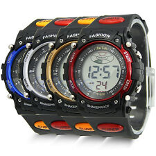 Waterproof Digital LCD Alarm Date Military Rubber Mens Sport Watch New
