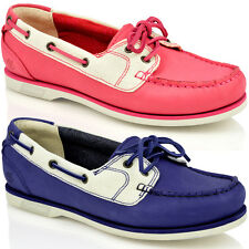 WOMENS LADIES TIMBERLAND CLASSIC 2 EYE LACE LEATHER CANVAS LACE BOAT SHOES SIZE