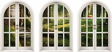 Huge 3D Arched Window Enchanted Forest View Wall Stickers Mural Art Decal
