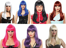 WOMENS LADY LONG STRAIGHT WIG WITH BANGS X-MEN STORM SUPERHERO COSTUME WIG