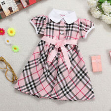 18M-6Y Baby Girls Cotton Lapel Top Skirt Bowknot Belt Plaids Summer Dress Party