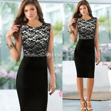 Womens Elegant Pinup Floral Lace Colorblock Tunic Bodycon Pencil Shift Dress New