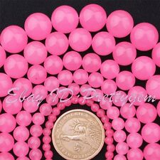 """4-16mm Smooth Round Pink Candy Jade Gemstone For DIY Jewelry Making Beads 15"""""""