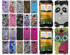 Verizon HTC Droid DNA Crystal Diamond BLING Hard Case Cover + Screen Protector