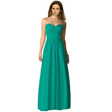 Strapless Full Length Chiffon Bridesmaids Dress Formal Evening Gown Turquoise