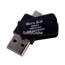 2-in-1 Micro SD TF Card Reader with OTG USB 2.0 + Micro USB for Phone PC #1 DF