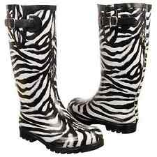 Sexy Trendy Black & White Zebra Ladies Rubber Low Rain Boots w/Buckle by Nomad