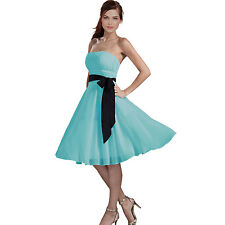 Sexy A-Line Strapless Chiffon Formal Bridesmaid Cocktail Party Dress Light Blue