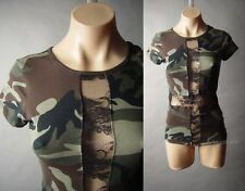 Camouflage Camo Print Army Surplus Black Sheer Lace Cross Top 17 mv Shirt S M L