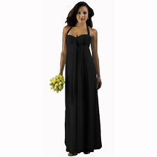 Long Flowing Ruffled Front Formal Bridesmaid Evening Dress Maxi Gown Black