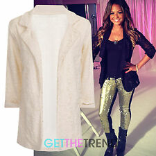 Womens All Lace Open Front  Blazer Ladies Full Sleeve Lace Jacket Blazer New