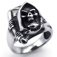 Jewelry 316L Stainless Steel Titanium Sickle Ghost Skull Party Cast Ring M072601
