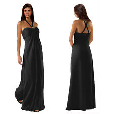 Gorgeous Long Flowing Formal Bridesmaid Dress Evening Party Night Gown Black