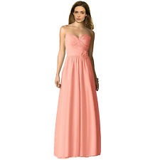 Strapless Full Length Chiffon Bridesmaids Dress Formal Evening Gown Light Pink