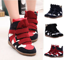 New Women Casual High Top Sneakers Strap Canvas Wedge Hidden Heel Athletic Shoes