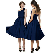 One Shoulder Taffeta Tea-Length Formal Cocktail Evening Bridesmaid Dress Blue
