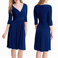 3/4 Sleeves Ruched V-Neck Jersey Flare Cocktail Party Day Night Dress Blue