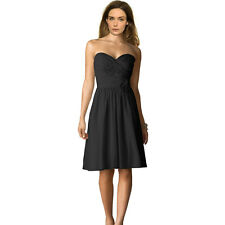 Strapless Short Chiffon Bridesmaid Formal Cocktail Evening Party Dress Black