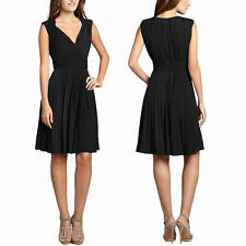 Stretch Jersey Pleated V-Neck Sleeveless Cocktail Party Flare Day Dress Black