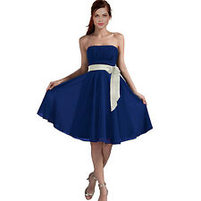 Sexy A-Line Strapless Chiffon Formal Bridesmaid Cocktail Party Dress Cobalt Blue