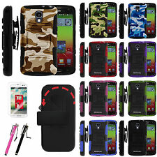 LG Volt F90 LS740 Rugged Holster Belt Clip Hybrid Armor Stand Case Cover Combo