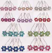 10Pcs New Beautiful Flower Style Clear Rhinestone Hair Pins For Wedding