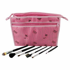 7 Piece Cosmetic Brush & Pink Cosmetic Bag Professional Make-Up Set