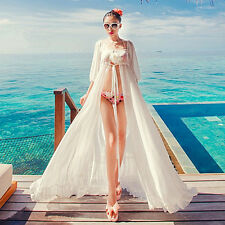 New Sexy Hot Women's Chiffon Cardigan Long MaxiDress White Beach Bikini Swimsuit