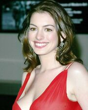 ANNE HATHAWAY BUSTY SMILING IN RED DRESS PHOTO OR POSTER