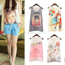 Womens Girls Chiffon Printed Vest Tank Top Sleeveless T-Shirt Blouse S-XL 8Style