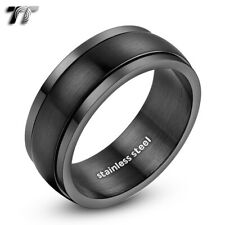 Mens TT 8mm Black Brushed Finished Stainless Steel Spinner Ring Size 8-15 (R10D)