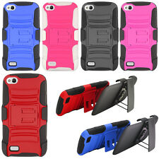 For BLU Life Play L100A Case HYBRID Rugged KICKSTAND Holster Rubber Hard Cover