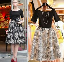 Retro Women Casual Short Sleeve Floral Net Print Cocktail Party Bouffant Dress