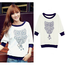 Women Batwing Casual Shirt Owl Printed Casual White Half Sleeve T-shirt Blouse