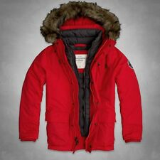 NWT Abercrombie & Fitch Mens Gothics Mountain Red Fur Winter Parka Jacket ~ XL