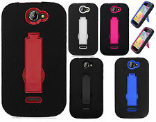 For BLU Advance 4.0 A270a IMPACT Hard Rubber Case Phone Cover Kick stand