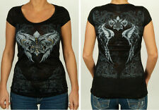 Women Burnout Cap Sleeve Fleur De Lis & Wings Graphics Shirt Black #VC-7327-LW
