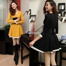 Fashion womens elegant Korean tall waist lace Hem long sleeve dress Skirt