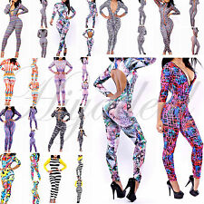 Sexy Colorful Womens Zipper Stretch Bodycon Rompers Jumpsuits Bandage Club Dress