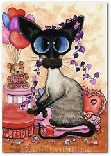 #251 Siamese Cat Sweetheart Candy Valentine Love Be Mine Bear-ACEOs & ArT Prints