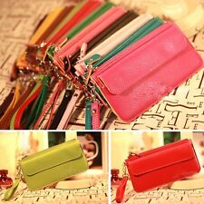 Womens Faux Leather Bifold ID Card Holder Clutch Bag Wallet Zip Purse Gift New