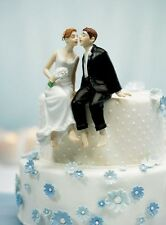 Whimsical Sitting Caucasian Couple Wedding Cake Topper WITH Custom Hair Colors