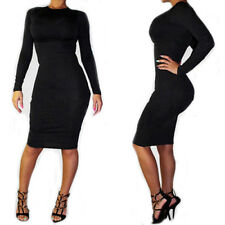 New Women's Long Sleeve Lace Bandage Bodycon Cocktail Fashion Party Dress Black