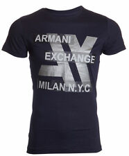 ARMANI EXCHANGE AX Men T-Shirt MILAN NYC Slim Fit NAVY Casual Designer M-XXL $48