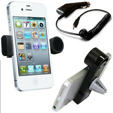 360°ROTATING IN CAR AIR VENT MOUNT HOLDER+CAR CHARGER FOR LATEST MOBILE PHONES